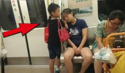 Mira la reacción de este niño al ver a esta señora durmiendo