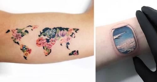 27+ tatuajes de viajero que te motivarán a hacer la maleta y coger un avión