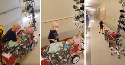 Conmovedor video en el hospital un pequeño niño con cáncer ayuda y pasea a ..