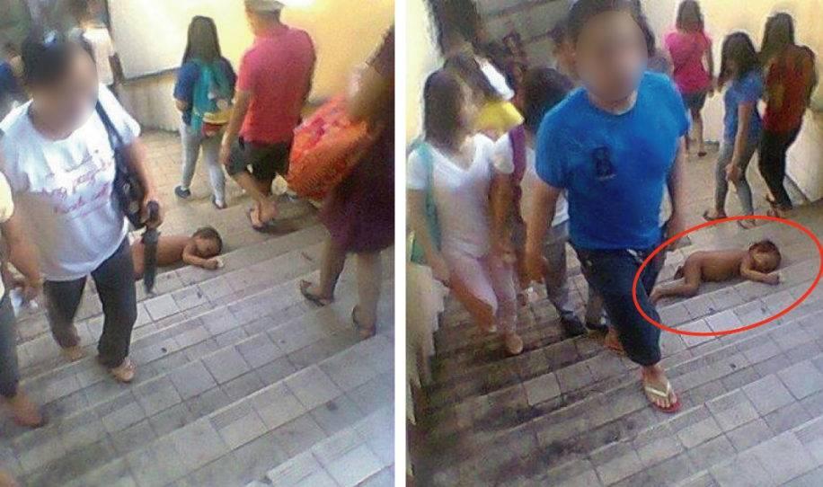 La gente caminaba e ignoraba al bebé de la escalera, hasta que pasó esto