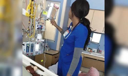 La enfermera creyó que nadie la veía, la madre observa y no pudo contenerse
