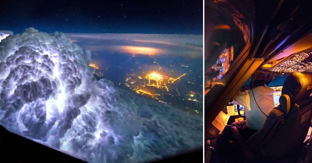 Una super tormenta con aurora boreal desde la cabina de un avión