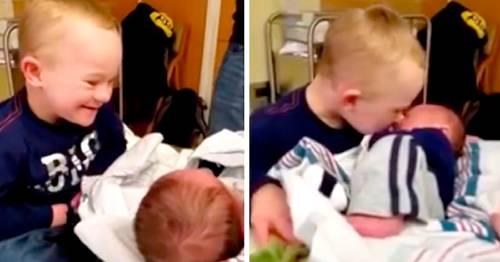 La reacción de este pequeño al mirar por primera vez a su hermanito, revoluc..