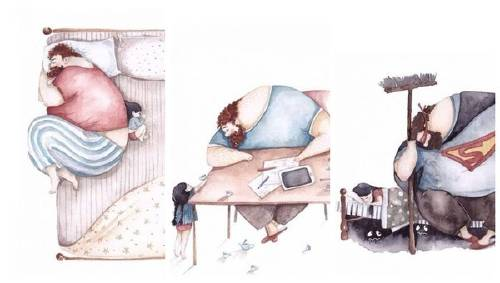 Las hermosas ilustraciones que muestran el amor entre padres y sus pequeñas h..